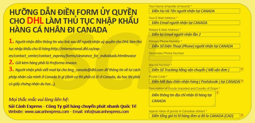 Ủy quyền cho DHL làm thủ tục nhập khẩu hàng cá nhân đi Canada